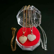 Micropave Heart Necklace Stainless Steel