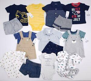 Carter's Baby Boy Shirt Shorts Set Overalls Outfit Size Newborn 3 Months NWT Lot