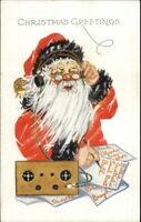 Christmas - Santa Claus Eyeglasses on Radio Taking Orders c1915 Postcard