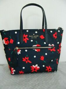 NWT KATE SPADE NEW YORK SPADE CHELSEA WHIMSY FLORAL MD NYLON SATCHEL WKR00586
