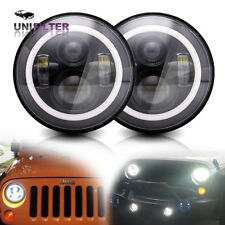 DOT 7 Inch Round Projection Hi/Lo LED Headlights Halo For Jeep 07-17 Wrangler JK