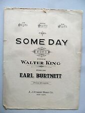 Some Day Earl Burnett & Walter King Medium Voice WWI 1918 Large Sheet Music
