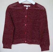 BONPOINT BABY GIRLS BURGUNDY SPARKLE WOOL BLEND CARDIGAN 4 YEARS