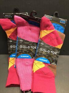 Mens Size 6-12 Socks GOLD TOE GOLF Dress Crew PINK Plaid 3 Pair NEW