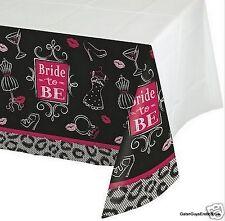 Bride to Be Table Cloth 54x102 Bridal Wedding Hen Lingerie Heels Kisses Ring