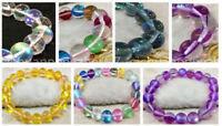 8mm Multicolor Gleamy Rainbow Moonstone Round Gems Beads Elastic Bracelet  7.5''