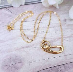 Vintage 9ct Gold Stylish Moonstone Cabochon Necklace Chain Edinburgh Hallmark