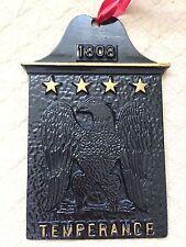 "Vintage Metal Temperance 1808 Embossed American Eagle Black Wall Plaque Sign 6"""