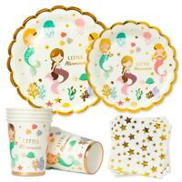 Mermaid Plate Paper Tableware Set Kids Birthday Party Decor Baby Shower Supplies