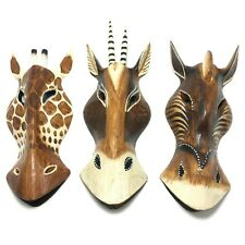 Horse Giraffe Chamois Wooden Mask Hand Carved African Safari Wall Hanging