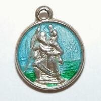 Vintage Saint Christopher Sterling Silver Blue Enamel Charm Pendant 1.4g