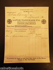 Luthe Hardware Co. Tinware and Metals Letterhead Invoice 1920
