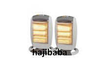 2 X 1200W Portable Electric Oscillating Halogen Heater 3 Bar Quartz Office Home