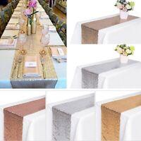5/10 Bulk Folded Edge Glitter Sequin Table Runner Sparkly Wedding Party Decor US