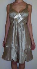 New Womens Size 6 BCBG Max Azria Gold Sequin Front Ruched Bottom Formal Dress