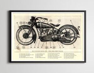 "Vintage Harley Davidson 1929 Motorcycle POSTER! (up to 24"" x 36"") - Blueprint L"