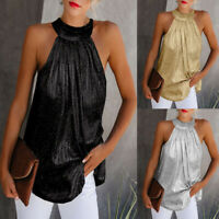 Womens Ladies Halter Neck Sleeveless Tank Tops Casual Summer T-shirt Blouse Vest