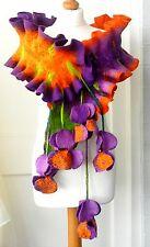 sale  Felted Scarf Nunofelt 100% wool  Shawl -blossom-9