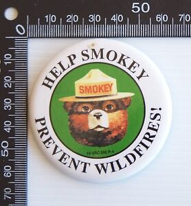 VINTAGE HELP SMOKEY BEAR FIGHT FOREST FIRES SOUVENIR TIN PIN BADGE 1980s PROMO