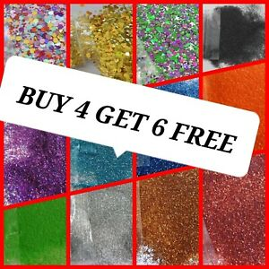 Glitter Buy 4 GET 6 FREE Certified Cosmetic  Festival Wax Melt Nail Art Craft