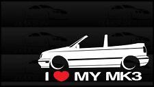 I Heart My MK3 Sticker Love VW Volkswagen Slammed Euro Germany GTI Cabrio Cabby