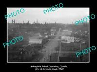 OLD LARGE HISTORIC PHOTO OF ABBOTSFORD BC CANADA, VIEW OF THE MAIN STREET c1920