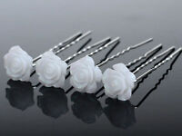 20/40P Flower Wedding Hair Pins Bridesmaid Crystal Diamante Pearls Bridal Clips