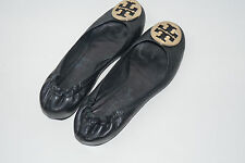 Authentic Tory Burch Reva Black With Gold Leather Ballet Flats Shoes Size 6.5