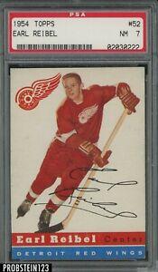 1954 Topps Hockey #52 Earl Reibel Detroit Red Wings PSA 7 NM