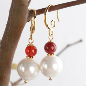 12MM white shell beads Red agate Gemstone Earring 18KGP Accessories Aurora Real