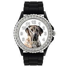 American Mastiff Dog Crystal Rhinestone Mens Ladies Jelly Silicone Watch Sg33P