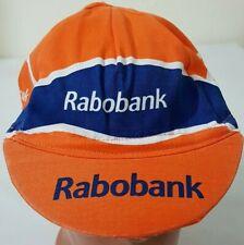 RABOBANK CYCLING CAP HAT TEAM VINTAGE BIKE 1999 ORANGE BLUE RETRO RACE