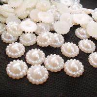 BIN 100Pcs Ivory Flat Back Flower Beads Wedding Cards Embellishments SALE Y9R1