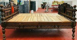 ANTIQUE VICTORIAN BED RENAISSANCE DARK WOOD 1800C