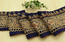 Vintage Indian Embroidered Blue Ribbon Wrap Sewing Used Sari Border 1YD Trim