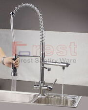 High Pressure Modern Chrome 3Way Dual Faucet Kitchen Mixer Tap Pure Water Filter
