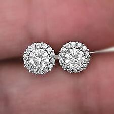 Round-Cut Diamond Cluster Stud Fine Earrings Sparkling 925 Sterling Silver Stud