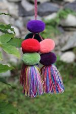 Fun Pompoms Tassel Borlas Decorative Tieback ? Handmade Chiapas Mexican Folk Art