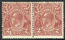 KGV - 1924 Single Watermark - 2d Red-Brown, pair, MVLH, BW:97(16)f