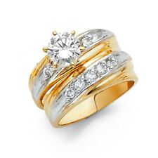 14k Yellow White Gold CZ Solitaire Channel Bridal Wedding Engagement Ring Band