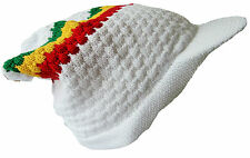 Rasta Reggae Beanie Hat White Knitted Cotton peaked Adult Medium Size