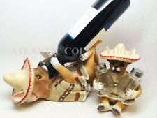 KITCHEN MEXICAN CHIHUAHUA DOG WINE BOTTLE HOLDER & SALT PEPPER SHAKERS HOLDER