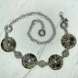 Chico's Silver Tone Snake Print Concho Belly Body Chain Link Belt OS One Size