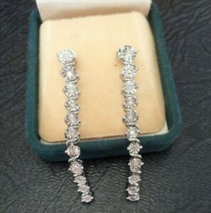 STERLING SILVER NATURAL DIAMOND SAPPHIRE DROP DANGLE EARRINGS WHITE GOLD PLATED