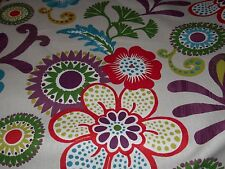 PURPLE LIME EMERALD  RED RETRO FLORAL ON WHITE COTTON UPHOLSTERY FABRIC