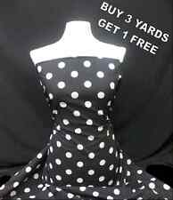 Cotton Print Black Large White Polka Dot Spot Dress-making Craft Fabric Material