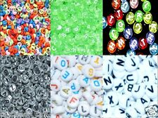 100pcs flat round 7mm alphabe/ letter & numbers acrylic  beads mixed in random