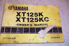 YAMAHA XT125 OWNERS  MANUAL XT 125 K C LIT-11626-03-60 jh