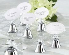 24 Lovebirds Silver-Finish Kissing Bells Wedding Placecard Holders Favors