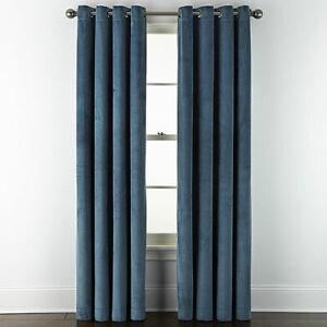 2 Liz Claiborne Holland Velvet Stargazer Teal Blackout Grommet Curtains 50 x 84